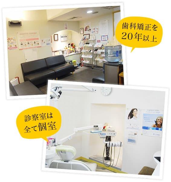 歯科矯正を20年以上/診察室は全て個室